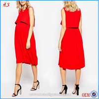 2016 Western Women Nursing Clothing Sleeveless Midi Skater Dress With Double Layer Maternity