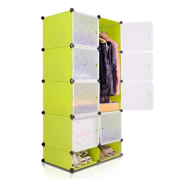 Top quality shoe storage cabinets and clothes storage shelves with green color (FH-AW023822-8 )
