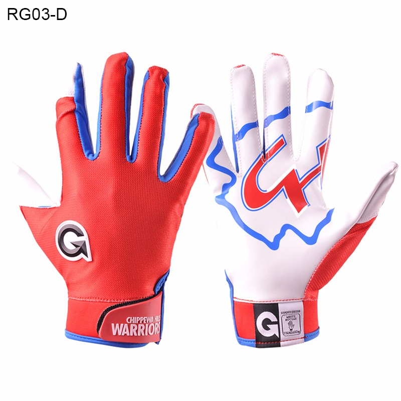 Polyester Football Gloves Customize Kids Receiver Gloves American College Football Receiving Gloves