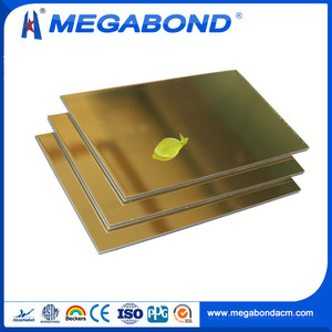 Megabond Hot Sale gold mirror finish aluminium composite panel sheet