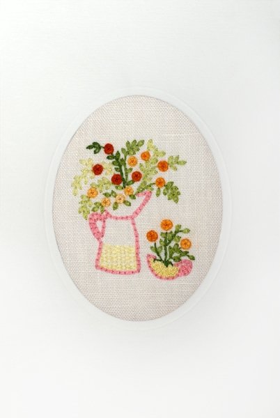 Hand-Embroidered Greeting Card Oval Design