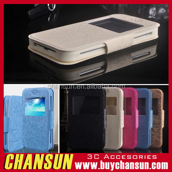 In stock !! PU Leather Flip Stand Universal Case view window Cover For Various Brand Phone