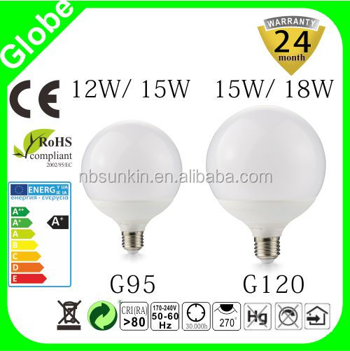 aluminum plus plasts G95 G120 G145 bulb; factory price for G80 G95 G120; 80lm/w warm white G95 LED bulb