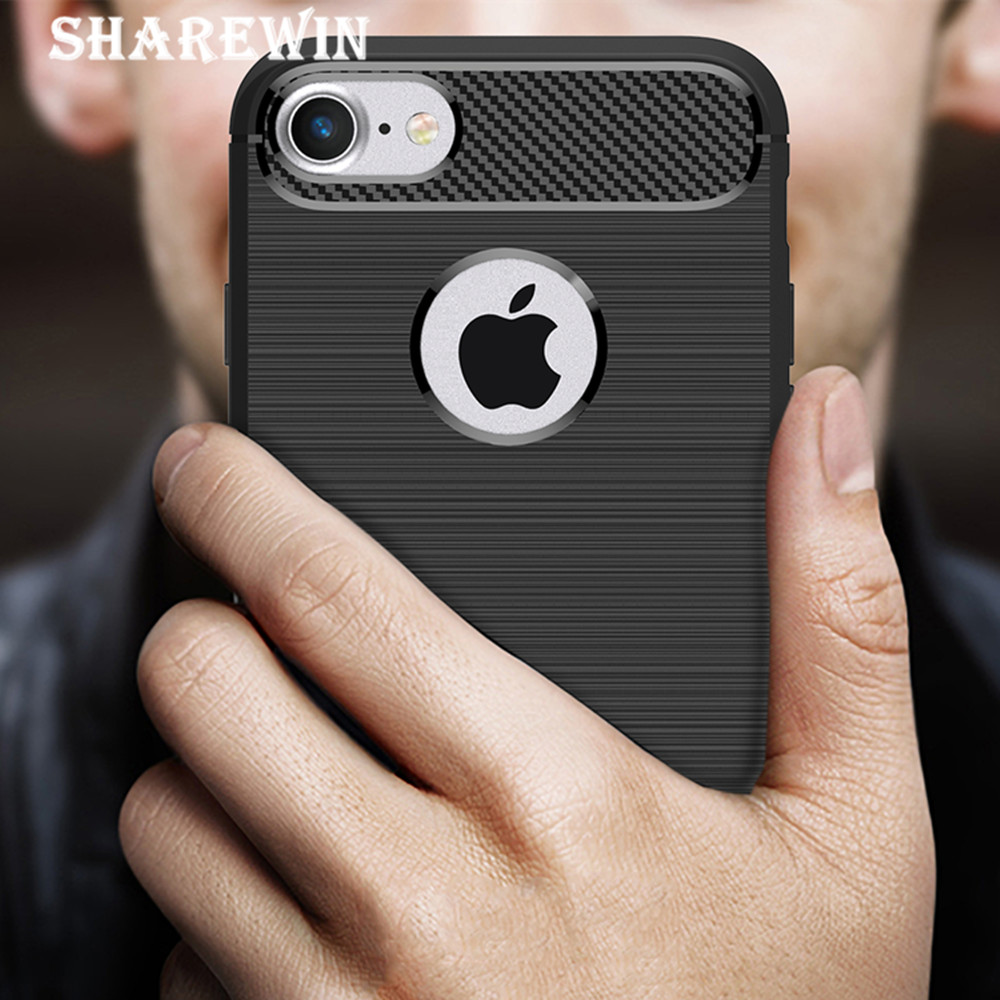 For iphone 7 Carbon Fiber Case, For iphone 7 Edge Frame Protector, Back Cover Phone Case For iphone 7
