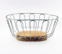 natural ring shape banboo metal fruit basket set