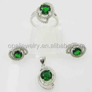 wholesale American diamond 925 sterling silver jewelry indian gemstone bridal jewelry sets