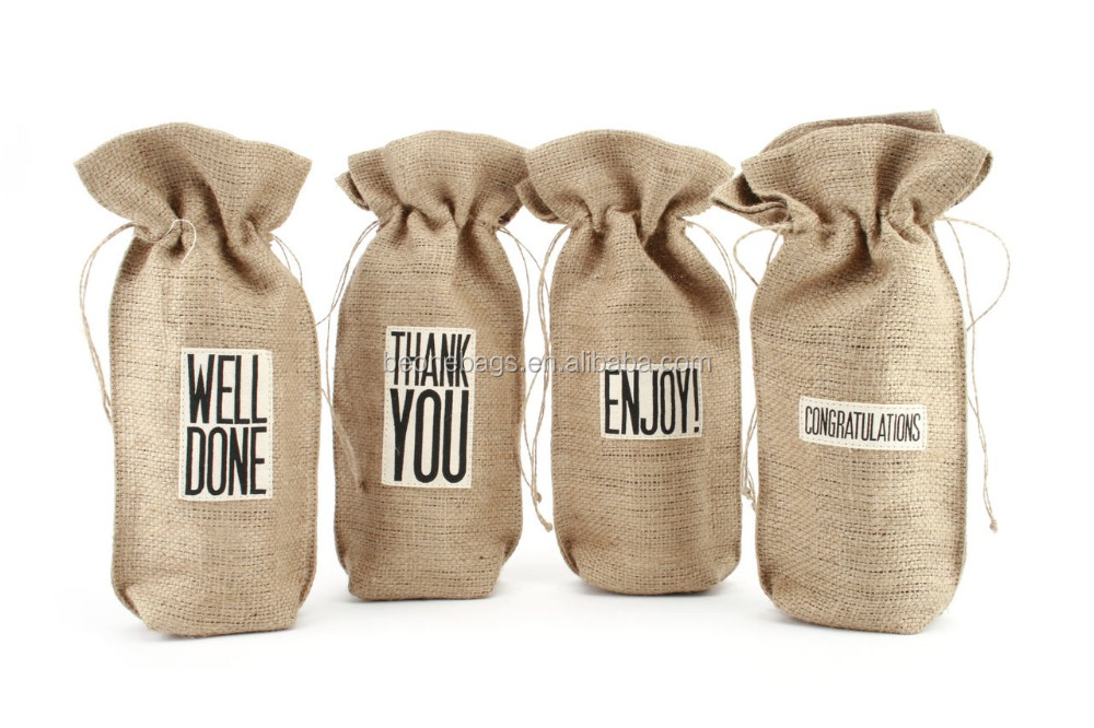 Natural Burlap Wine Bags Assorted Slogans Jute Wine Bottle Gift Bag