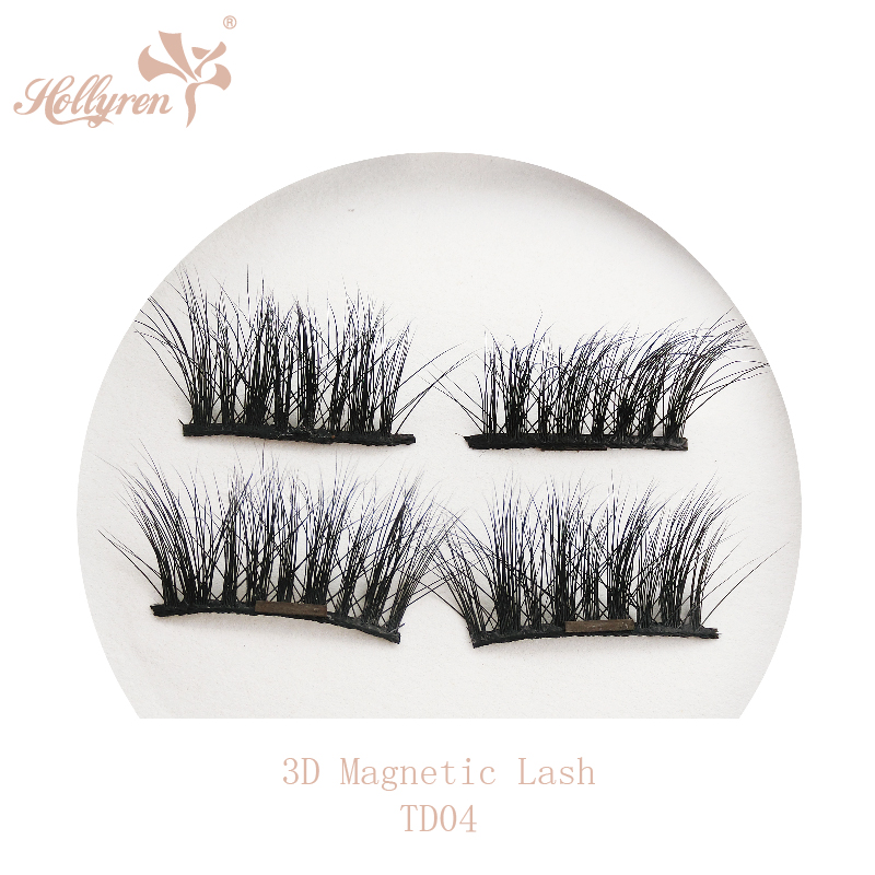 Private Label Makeup 3D Real Mink Fur Magnetic Strip Eyelashes