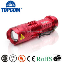 SK68 7W 300 Lumen 3 Modes MINI Flashlight Torch , Adjustable Focus Zoom , Red