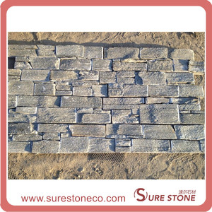 Cement Cultured Stone Wall Panel, Grey Ledge Stone Panel