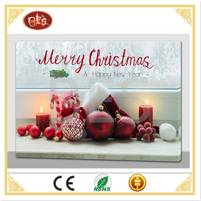 Merry christmas custom canvas painting, light up canvas picture.