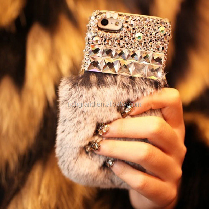 3D Bling Crystal Diamond Luxury Rabbit Fur Furry Warm Case Cover For iPhone 5S 6S 6 Plus 5.5