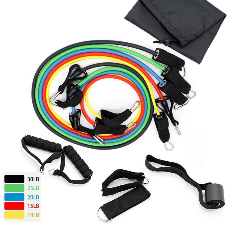 Professional Grade 11 Piece Set Of Stackable Exercise Resistance Bands With Door Anchor 2 Ankle Straps Zip Resistance Band Set
