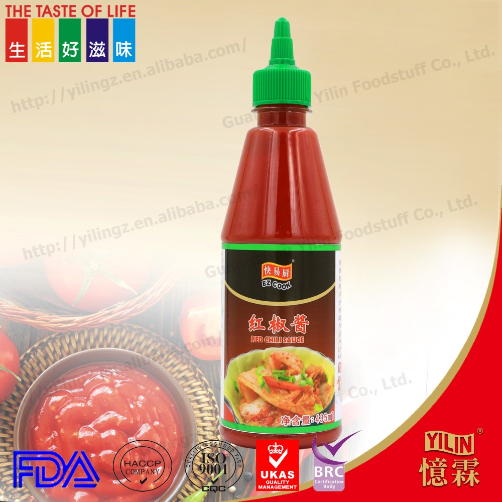 FDA factory high quality 435ml PET bottle delicious red chili sauce with market price