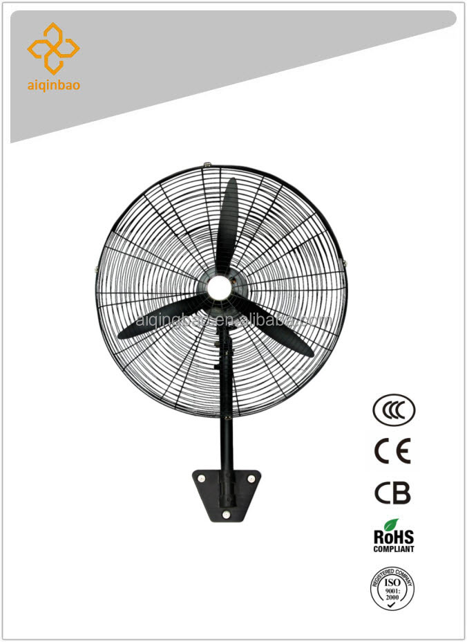 High velocity 100% copper motor 30 inch industial wall mount fan w/ 3 blades and oscillation