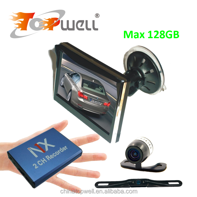 2 Channel D1 Linux SD Car HD DVR + Wide Angle Car Reversing Camera + 5 Inch Waterproof LCD Digital Monitor