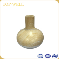 Ceramic wood finish decoration flower vase