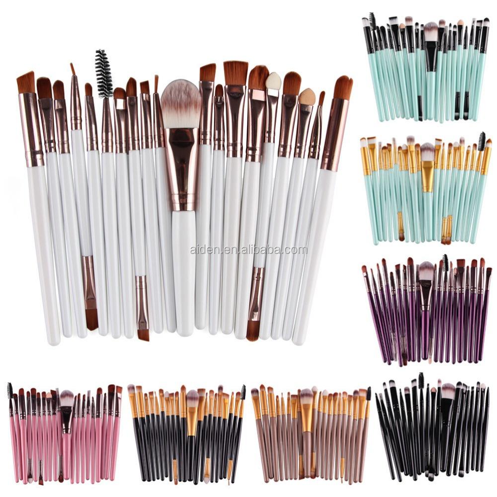 AIDEN-Factory directly sales 20pcs vegan eye makeup brushes with multiple color