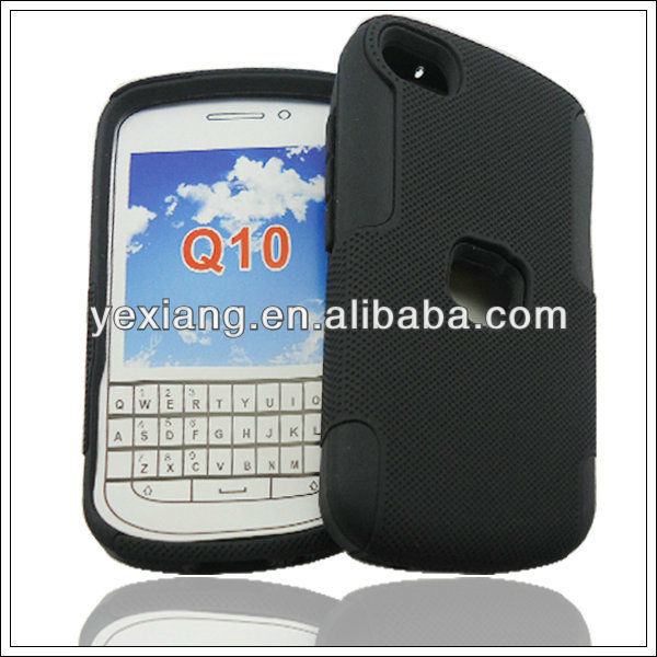 Comforable black double protect for blackberry q10 case
