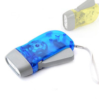 Promotion outdoor 3 led hand pressing flashlight mini hand crank dynamo torch flashlight