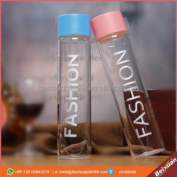 2016 hot sell Fashion 400ml blue similar voss style mineral joyshaker water glass bottle with screw plastic cap