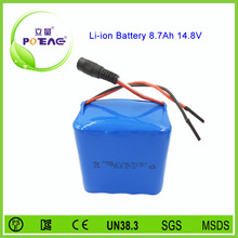 Deep cycle rechargeable li-ion 18650 battery 14.8v 8700mah
