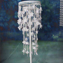95CM double circle frame white Column Stand floor standing candle holder for wedding table centerpiece decoration