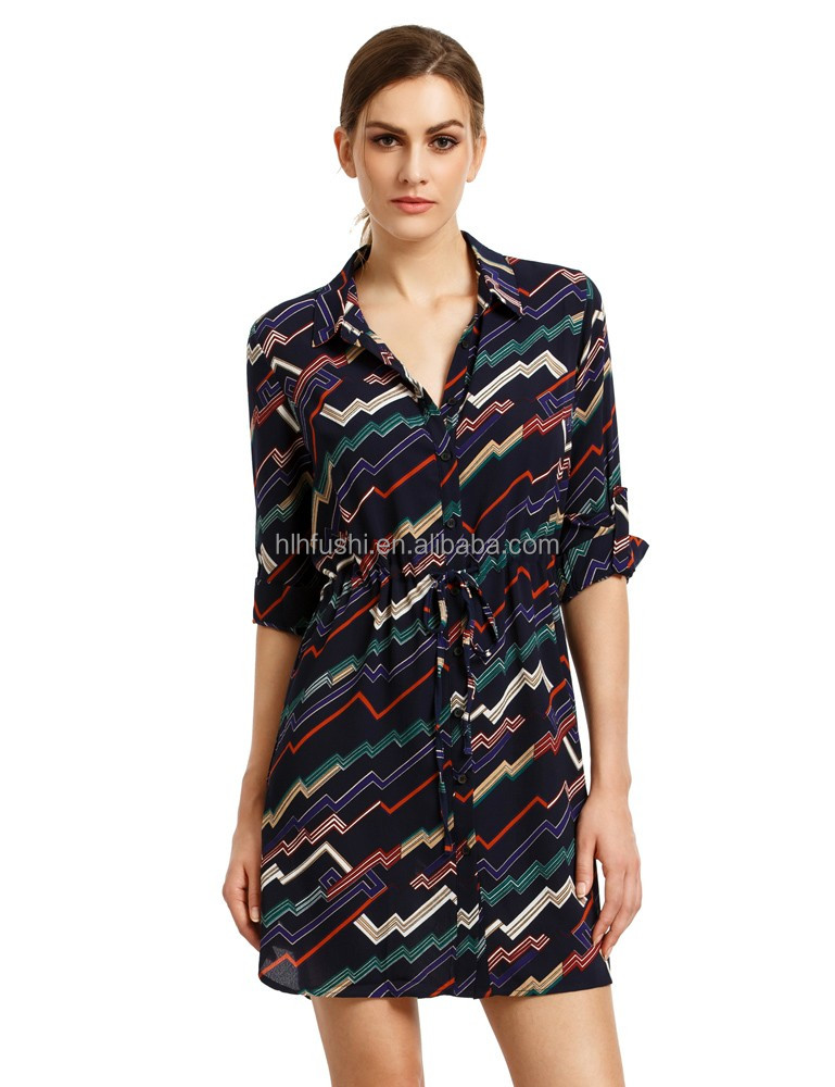 buy direct from china factory latest colorful roll-up sleeve dress shirt design for women