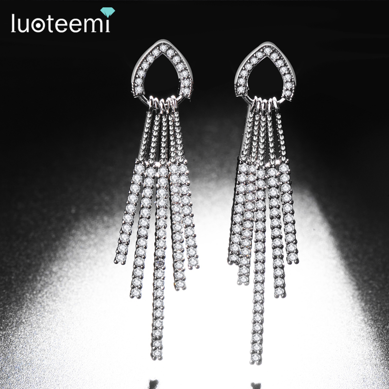 LUOTEEMI White Gold Color Fashion Jewelry Women's Bridal Wedding Tassel Earrings