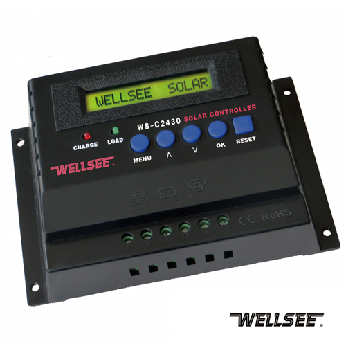 12v/24v 20A 25A 30A optional solar charge controller wellsee WS-C2430 solar battery charger controller
