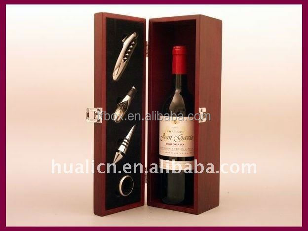 Wood Bottle 4 Set Wine Accessory Gift Box for Pack
