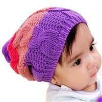 Custom rainbow colored baby hats wholesale cheap cute crochected beanie hat with pompomfor kids