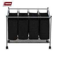 Classics Rolling Laundry Sorter Cart Sturdy Frame with 60KG Weight Capacity 4-Bag Heavy Duty Laundry cart