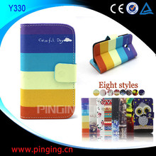 for Huawei Ascend Y300 case, wallet leather flip cover case for Huawei Ascend Y300