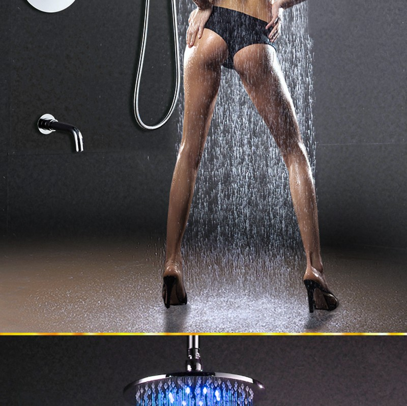 "led Shower set conceal install 10"" thermostatic diverter led shower set"