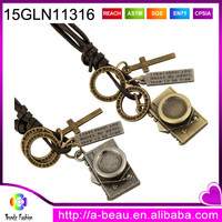 15GLN11316 Vintage Camera Pendant For Mens and Womens Long Cowhide Leather Necklaces With Cross Charms