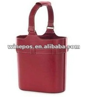Red leather wine bag,wine tote,wine carrier,wine holder,two bottle wine bag,wine gift