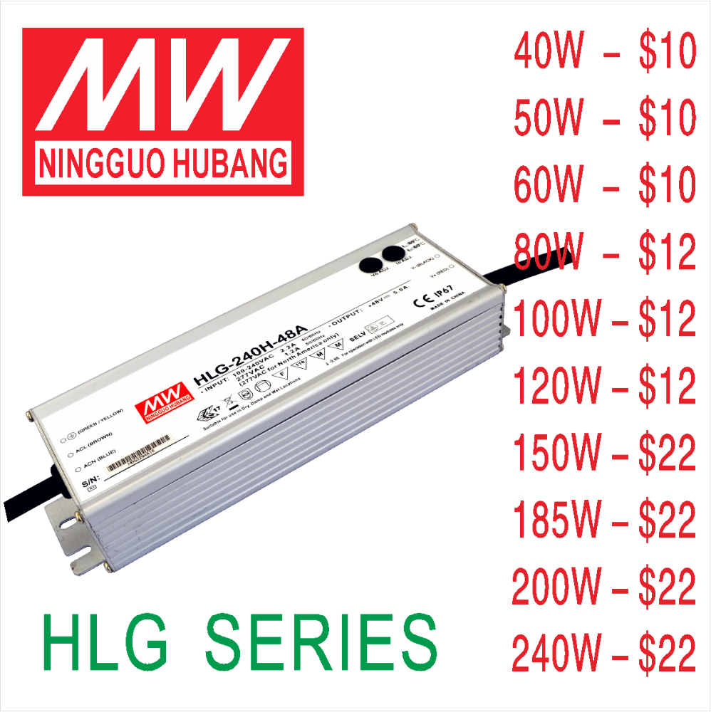 HB HLG 185W 36V waterproof electronic led driver Meanwell led driver