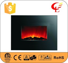 Remote control electric fireplace with pebble fuel or log fuel effect