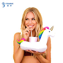 Summer Pool Cute Cartoon Unicorn Pvc Inflatable Cup Holder Drink Float