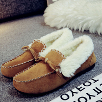 Warm Men Women Winter Comfort Faux upper Lined with Soft Sheepskin Fur Slip On Moccasin Slipper Flats Shoes