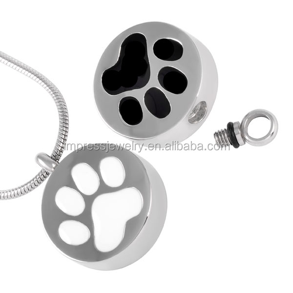 IJD8088 Round Shape 316L Stainless Steel Pet Memorial Urn Jewelry White/Black Paw print Cremation keepsake necklaces for ashes