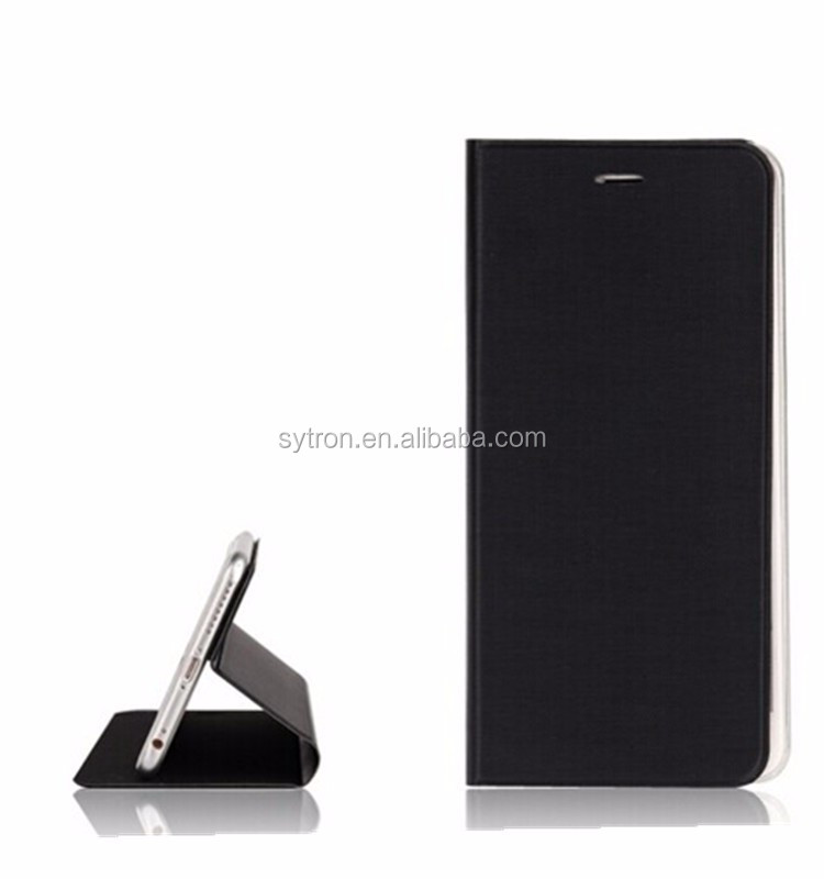 Black ultra thin leather Pu Case For Iphone 6,For Iphone 6 Leather Case with magic sticker