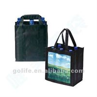 promotional bottle cooler bag,non woven pp 6 bottle wine bag,small bottle cooler bag