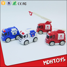 Cute Diecast Alloy Metal Cute Friction Toy Police Car Ambulance Fire Engines Truck