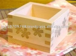"Ohashiryoki Masu (a square wooden box) ""Cherry blossoms (SAKURA)"" (01028)"