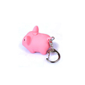2017 personalized led pink pig flashlight keychain