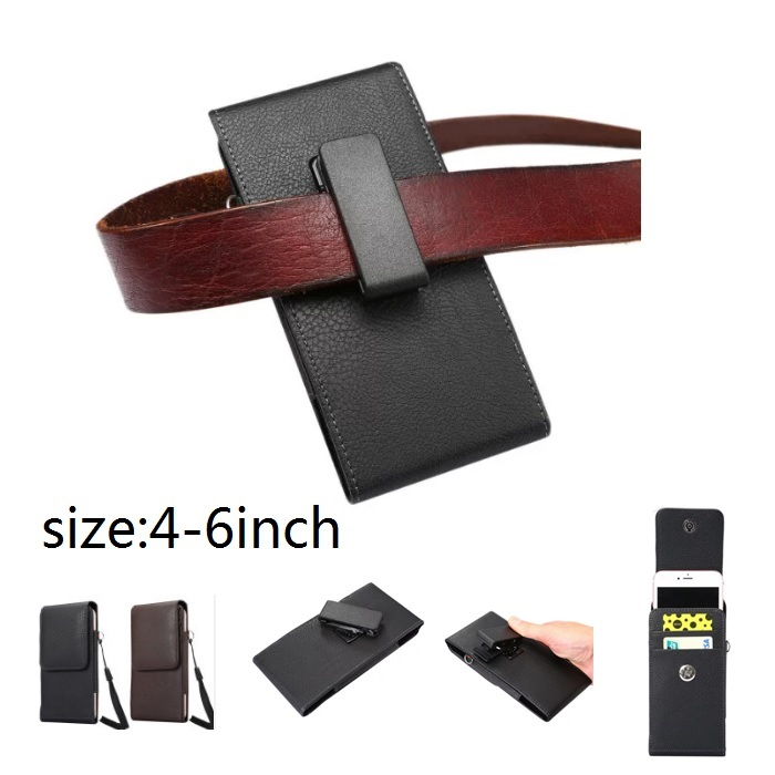 universal phone case for man workman belt clip Leather Holster Pouch with Belt Holder wallet ID card slot