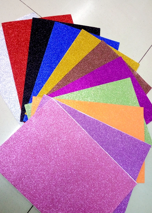Eco friendly adhesive backed glitter eva foam sheet