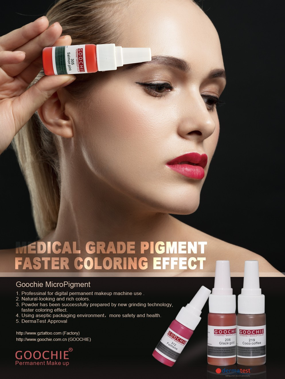 GOOCHIE High quality Pure Organic micro permanent makeup ink with FDA certificate